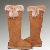 Fashion UGG Fox Fur Tall Boots 1852 Chestnut
