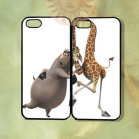Gloria and Melman Couple Case Madagascar -iPhone 5, iphone 4s, iphone 4, ipod 5, Samsung GS3-Silicone or Hard Plastic Case, Phone cover