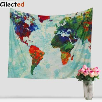 Cilecte New World Map Printed Mandala Tapestry Wall Hanging Hippie Tapestry Beach Throw Rug Blanket Boho Wall Carper Beach Towel