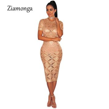 Ziamonga 2017 Fashion Sweater Vestidos Sexy Summer Hollow Out Knitted Dress See Through Night Club Wear Mid Calf Party Dresses