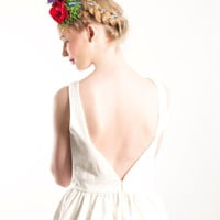 White Open back dress