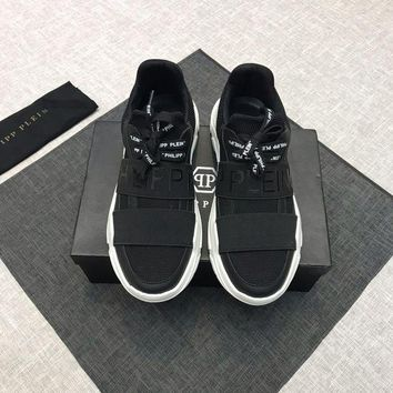 PEAP PP Philipp Plein Men's Leather Fashion Low Top Sneakers Shoes