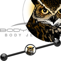 Black Anodized Titanium Brown Horned Owl Industrial Barbell | Body Candy Body Jewelry