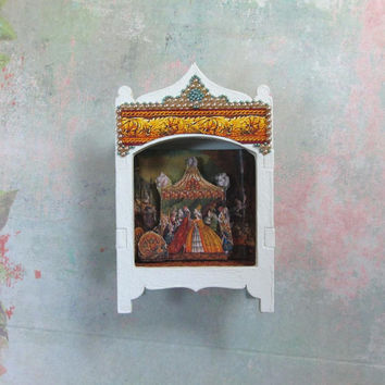Miniature Toy Theater Vignette with Princess Wedding