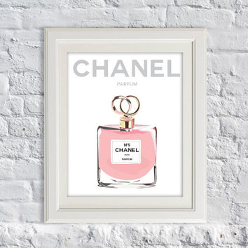 "Paris illustration - ""Chanel Perfume"" - COCO Chanel Parfum- Home Decor Art Prints - Typography"