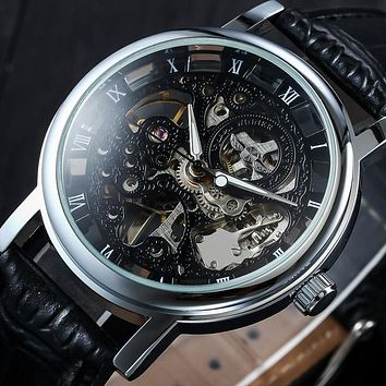 2018 Mens Watches Luxury Automatic Mechanical Wristwatch Self-Wind Skeleton Watch Black Leather Strap Silver Clock Men