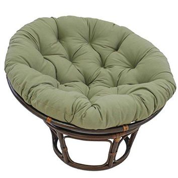 "Blazing Needles Solid Twill Papasan Chair Cushion, 52"" x 6"" x 52"", Sage"