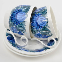 Set of handmade cups and saucers ceramic kitchenware stylish painted cups