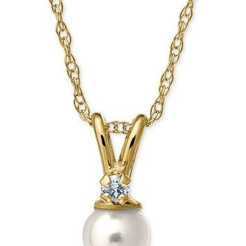 Macy's Children's Cultured Freshwater Pearl and Diamond Accent Necklace in 14k Gold Jewelry & Watches - Earrings - Macy's