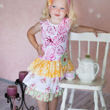 Giggle Moon Honeycomb and Blossoms Connie Skirt Set