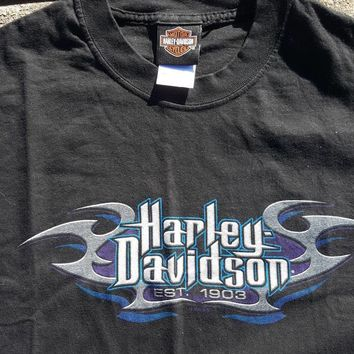 Vintage Harley Davidson Orange Virginia T Shirt tee Size Large Motorcycle Vtg Biker Tee