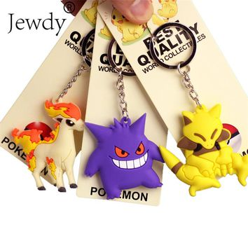 New Pikachu Keychain Pocket Monster Key Holder Pokemon Go Key Ring Pendant 3D Mini Charmander Squirtle Bulbasaur Gengar Ponyta