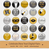 Celebrate New Years Digital Flairs Scrapbook Elements Pins Buttons Badge Clipart Embellishments Fireworks Party Clip Art Printable Stickers