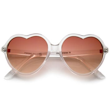 Indie Festival Crystal Gradient Lens Heart Sunglasses A298