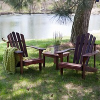 3-Piece Patio Furniture Set - 2 Adirondack Chairs & Side Table