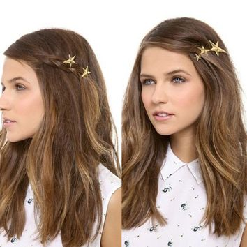 Fashion Hair Accessories Women  Party Sweet Gold Five-pointed Headdress Star High Quality Hairpins Folder Hairclip