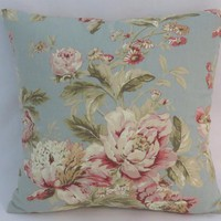 """Blue and Pink Floral Pillow, Waverly Fleuretta in Mist, Robins Egg, Vintage Look, 17"""""""