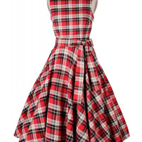 Red Plaid Sleeveless V-Back High Tie Waist Flare Dress