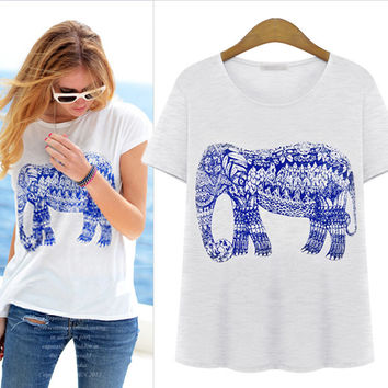 fashion summer women t-shirts loose round neck was thin wild elephants pattern print short-sleeved female cotton shirt