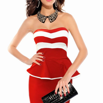 Red Stripe Print Strapless Peplum Mini Dress