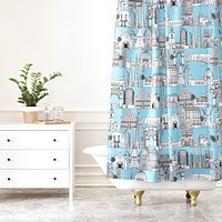Sharon Turner Los Angeles Blue Shower Curtain
