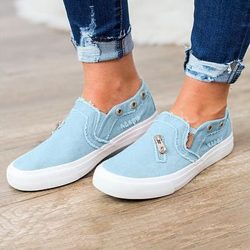 Fashionable plus-size single shoes women's canvas loafers, denim zipper, flat loafers and casual board shoes Blue