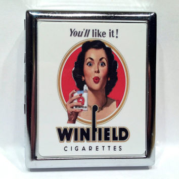 Vintage Ad Pin Up Girl Winfield Cigarette Case Metal Cigarette or ID or Business Card Case Wallet