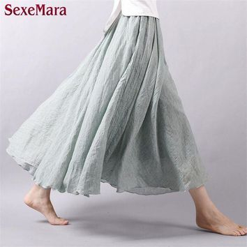 CREYONFI High Quality 2016 Summer New Vintage Bohemia Cotton Linen Pleated Women Boho Floor-Length Long Maxi Tulle Beach Skirt