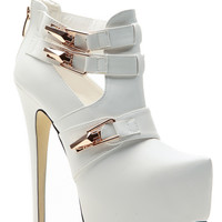 On the Edge White Platform Booties