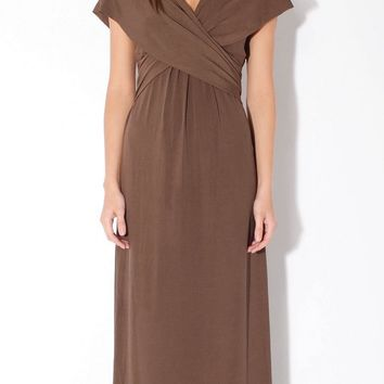 Olive Green Wrap Maxi Dress