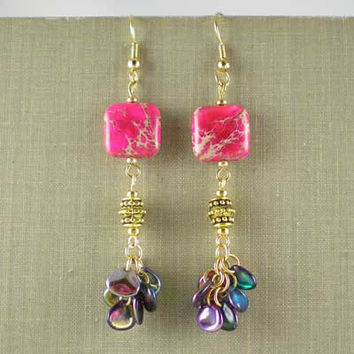 Fuchsia Pink Aqua Terra Jasper Antique Gold and Glass Petal Beads Drop Earrings Bohemian Tribal Ethnic Tibetan Boho Rustic UK Handmade 10004