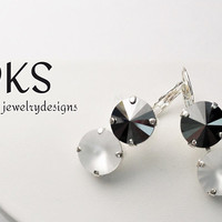 Black and White, Swarovski 12mm Drop Earrings, Double Stone, Lever Back, Bridal, Dangle, DKSJewelrydesigns, FREE SHIPPING
