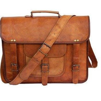IN-INDIA Large Bold And Stylish Hunter Leather Handcrafted Messenger Office Regular Bag Fits Laptop