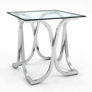 Loreane Glass Top End Table Chrome