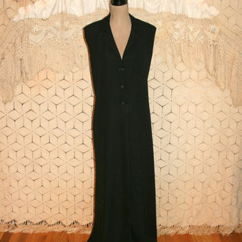 Long Black Vest Coat 80s 1980s Sleeveless Duster Edgy Bohemian Black Maxi Dress Goth Gothic Stevie Nicks 2X 3X Vintage Plus Size Clothing