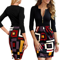 New Women's Deep-V Neck 2/3 Sleeve Slim Sexy Package-hip Business Dress = 1956729092
