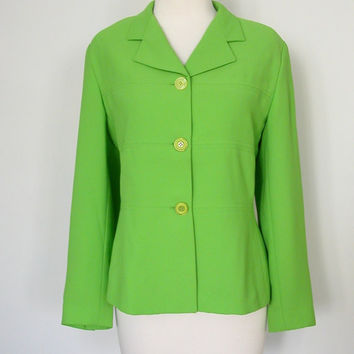 Green Blazer  80s lime suit jacket Oleg by roguegirlvintage