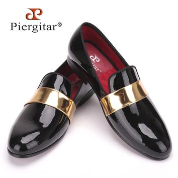 Handmade men leather Loafers with gold patent leather buckle International
