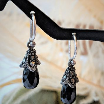 Artisan Crafted Sterling Silver Faceted Crystal Marcasite Drop Dangle Earrings