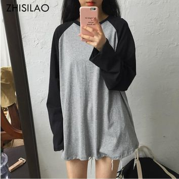 ZHISILAO 2018 Summer Woman T-shirt Woman Long Sleeve Simple Oversize T-shirt Harajuku shirt femme cotton tshirt Sexy Tee