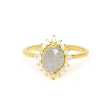 Labradorite + Diamond Flowerburst Ring