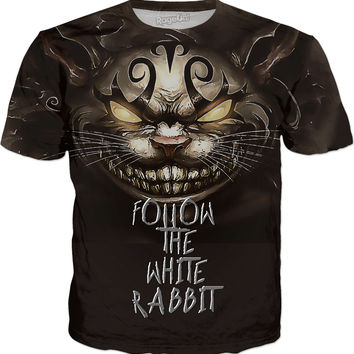 Cheshire cat, American McGees Alice in Wonderland, follow the white rabbit shirt