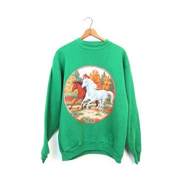 Vintage HORSE Sweatshirt 80s Green Horses Sweatshirt Pullover Basic Animal Sweater Barn Country Western Grunge Novelty Womens Small Medium