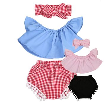 Pudcoco Newborn Baby Girl Clothes Set Off Shoulder Top T-Shirt+Shorts 3PCS Set Outfit Clothes 0-24M