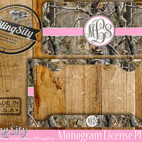 Pink Camo Monogram License Plate Frame Holder Metal Wall Sign Car Truck Front Tags Personalized Custom Vanity RealTree Camo