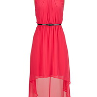 high-low belted chiffon dress