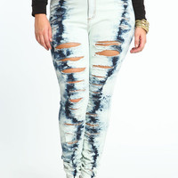PLUS SIZE GLACIAL SHREDDED JEANS