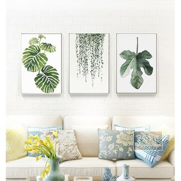 2 Size 11 Styles Nordic Minimalist Plants Canvas Art Print Poster Green Leaf Painting on Canvas Wall Pictures for Living Room Ho