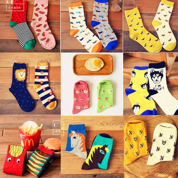 2 pair/lot  New fashion women men colorful dog cotton socks Spring couple lover Casual Pill Fox neutral red sock Hot 4pcs