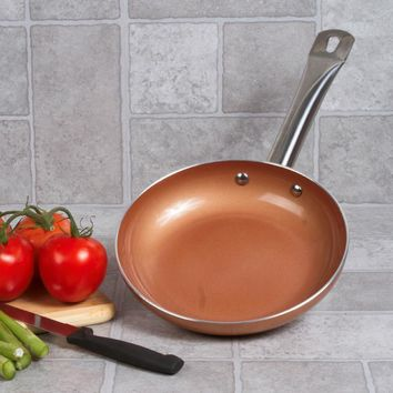"Copper Ceramic 8"" Non Stick Fry Pan with Induction Bottom"